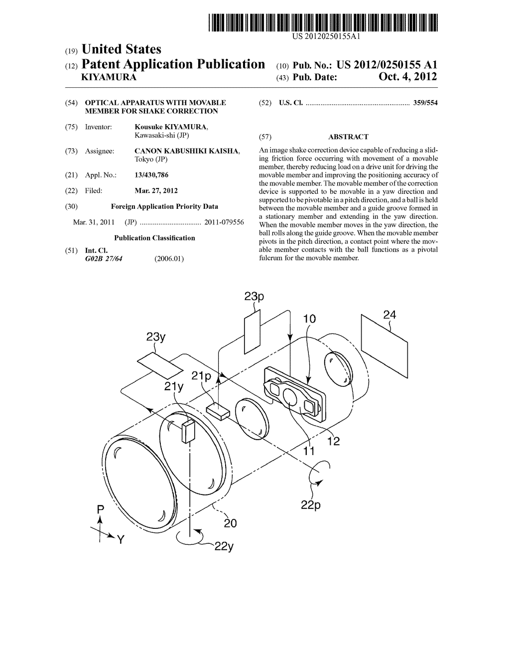 OPTICAL APPARATUS WITH MOVABLE MEMBER FOR SHAKE CORRECTION - diagram, schematic, and image 01