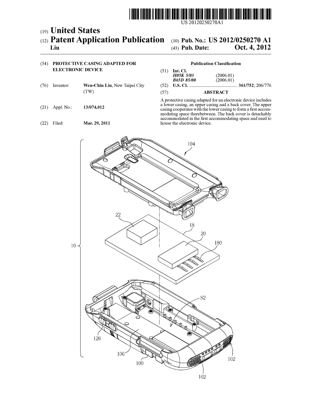 PROTECTIVE CASING ADAPTED FOR ELECTRONIC DEVICE - diagram, schematic, and image 01