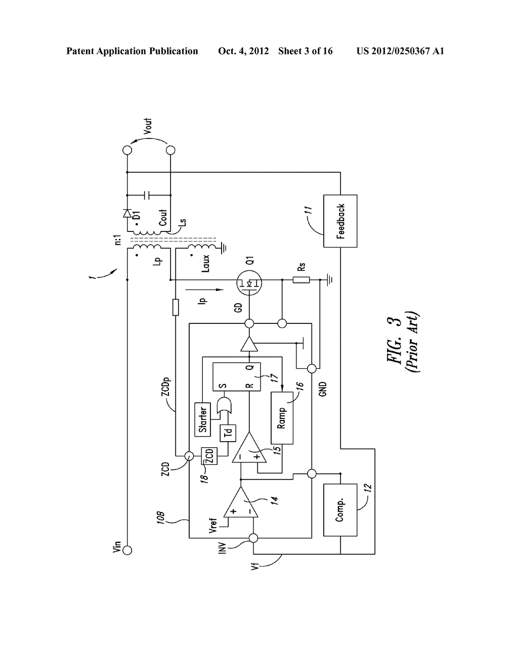 CONTROL DEVICE OF THE SWITCHING FREQUENCY OF A QUASI-RESONANT SWITCHING     CONVERTER AND RELATED CONTROL METHOD - diagram, schematic, and image 04