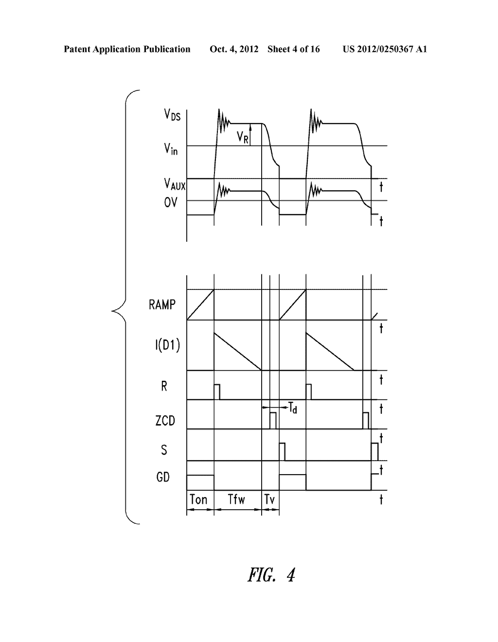 CONTROL DEVICE OF THE SWITCHING FREQUENCY OF A QUASI-RESONANT SWITCHING     CONVERTER AND RELATED CONTROL METHOD - diagram, schematic, and image 05