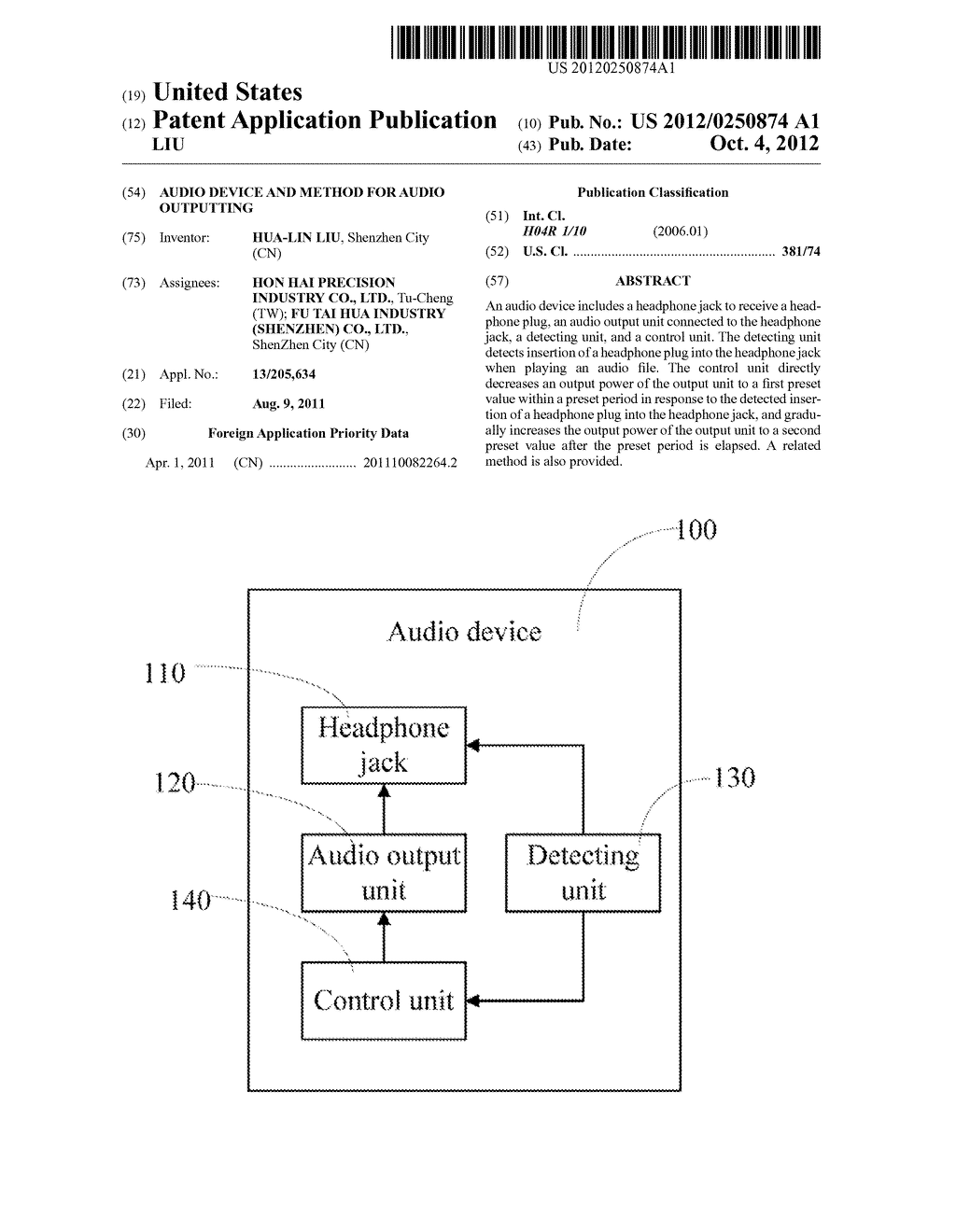 AUDIO DEVICE AND METHOD FOR AUDIO OUTPUTTING - diagram, schematic, and image 01