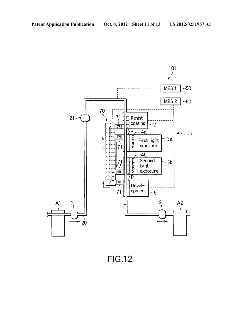 SUBSTRATE TRANSFER METHOD FOR PERFORMING PROCESSES INCLUDING     PHOTOLITHOGRAPHY SEQUENCE - diagram, schematic, and image 12