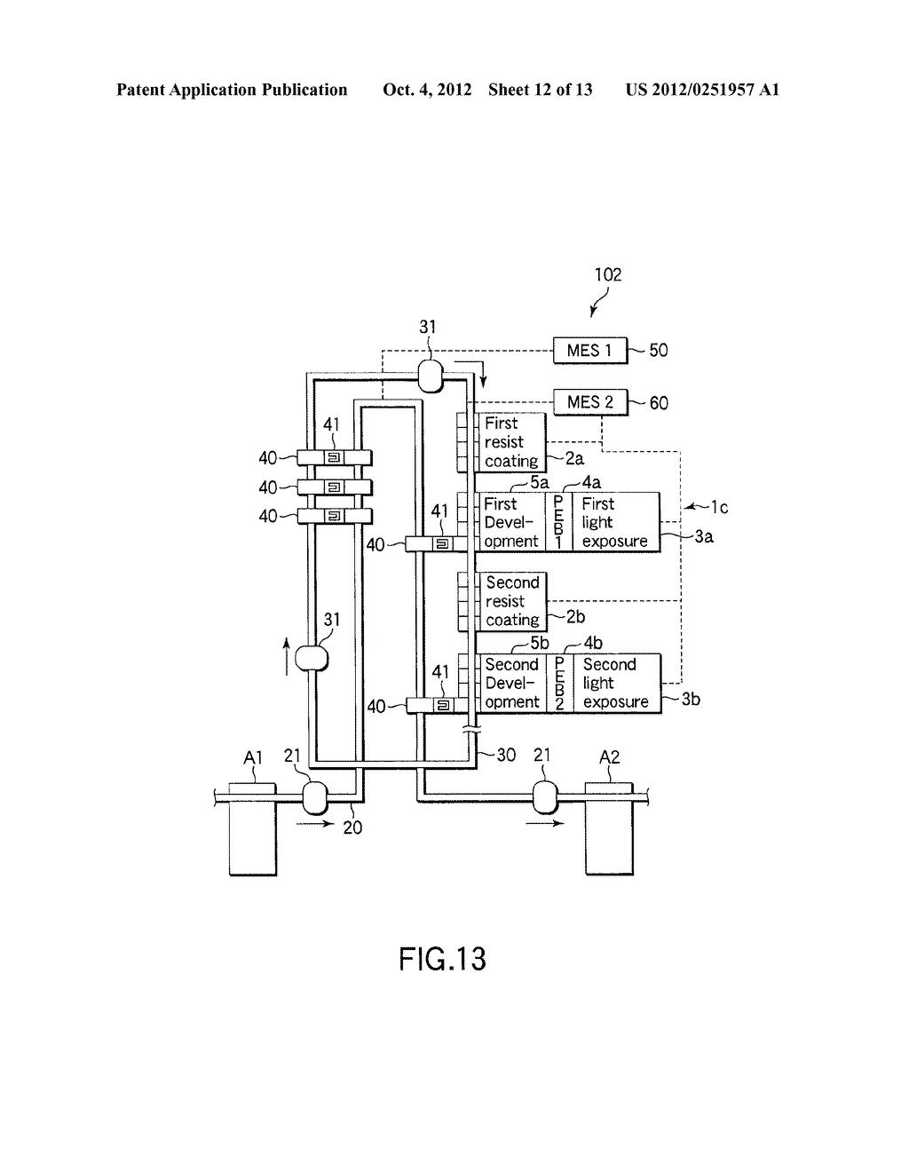 SUBSTRATE TRANSFER METHOD FOR PERFORMING PROCESSES INCLUDING     PHOTOLITHOGRAPHY SEQUENCE - diagram, schematic, and image 13