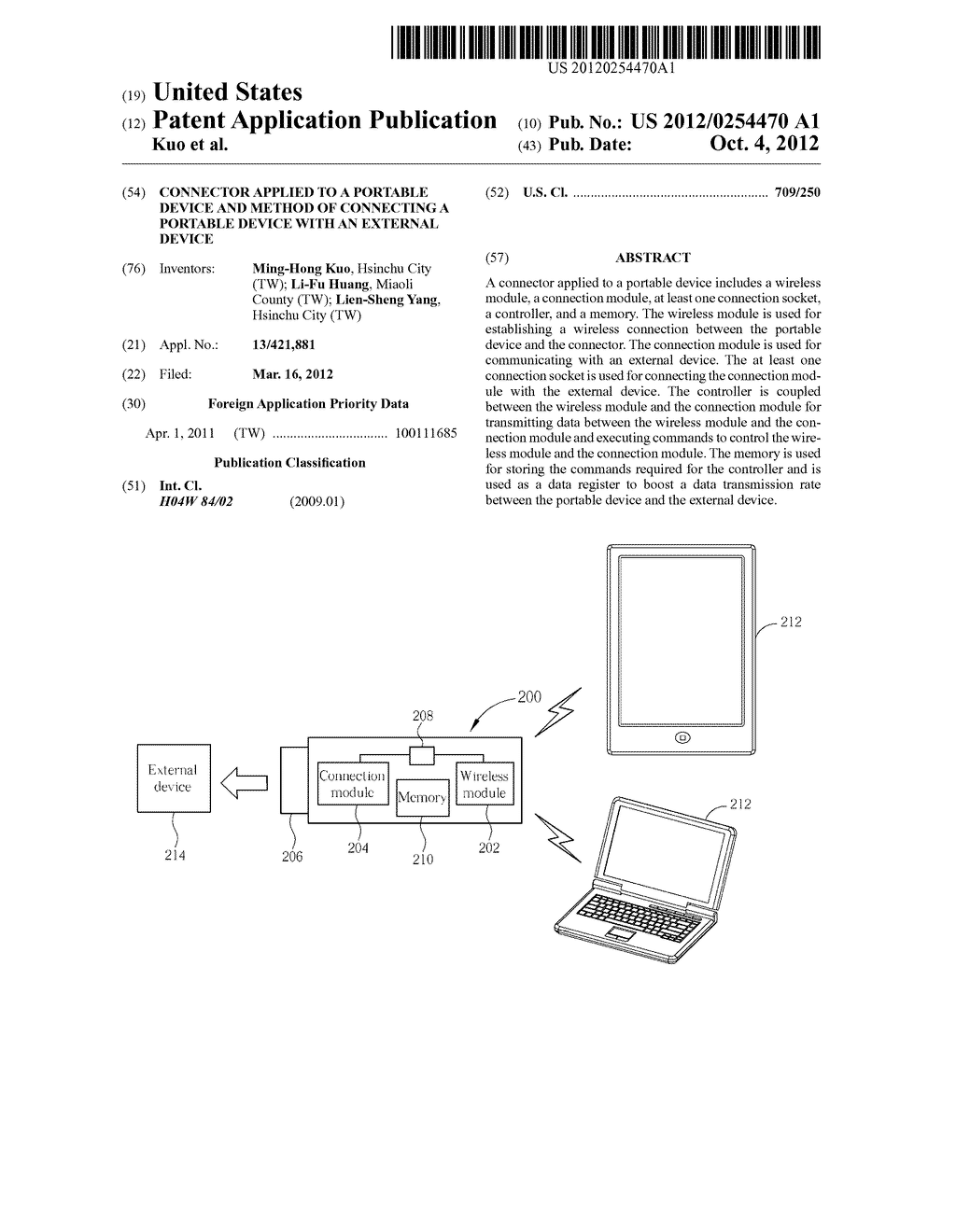 CONNECTOR APPLIED TO A PORTABLE DEVICE AND METHOD OF CONNECTING A PORTABLE     DEVICE WITH AN EXTERNAL DEVICE - diagram, schematic, and image 01