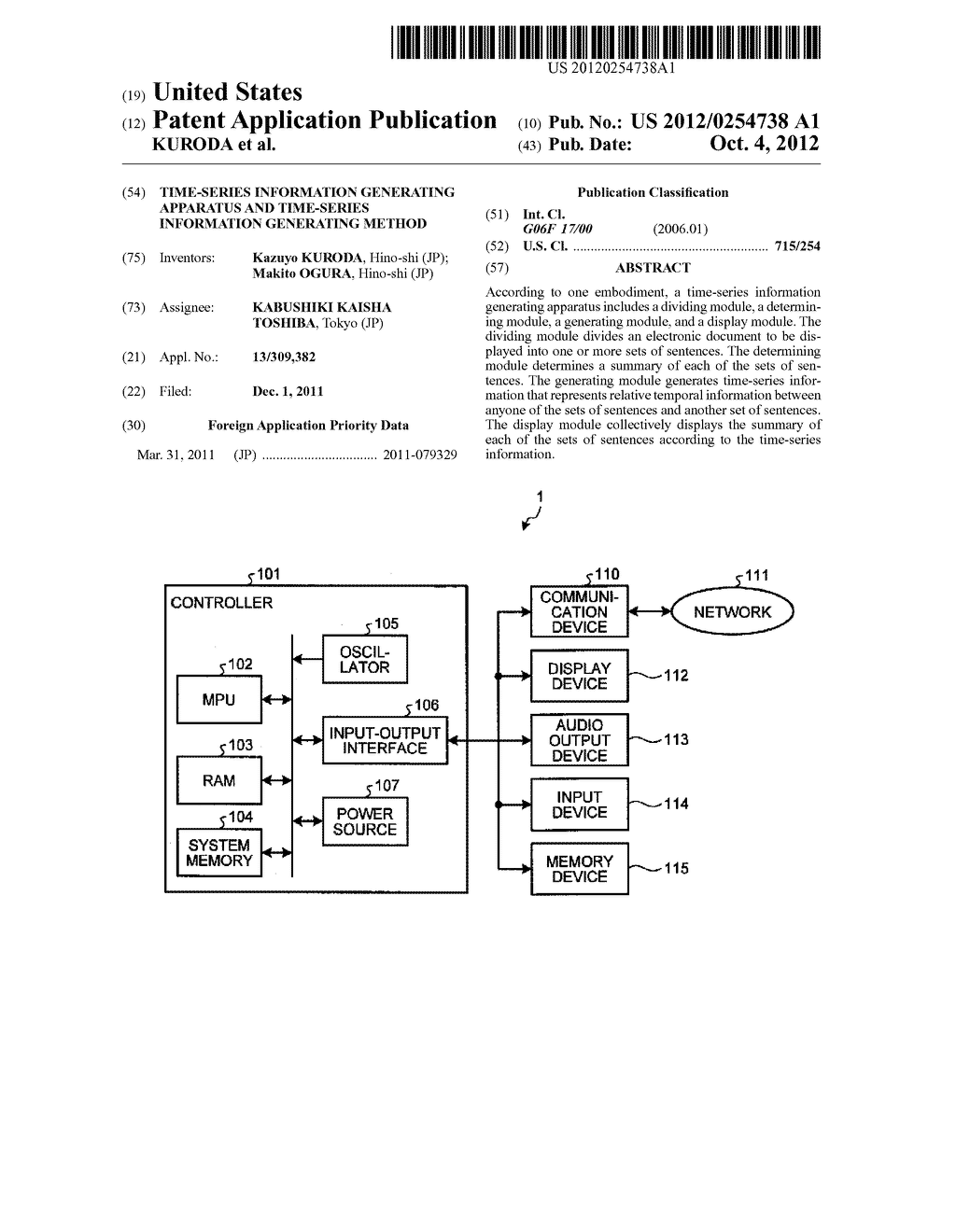 TIME-SERIES INFORMATION GENERATING APPARATUS AND TIME-SERIES INFORMATION     GENERATING METHOD - diagram, schematic, and image 01