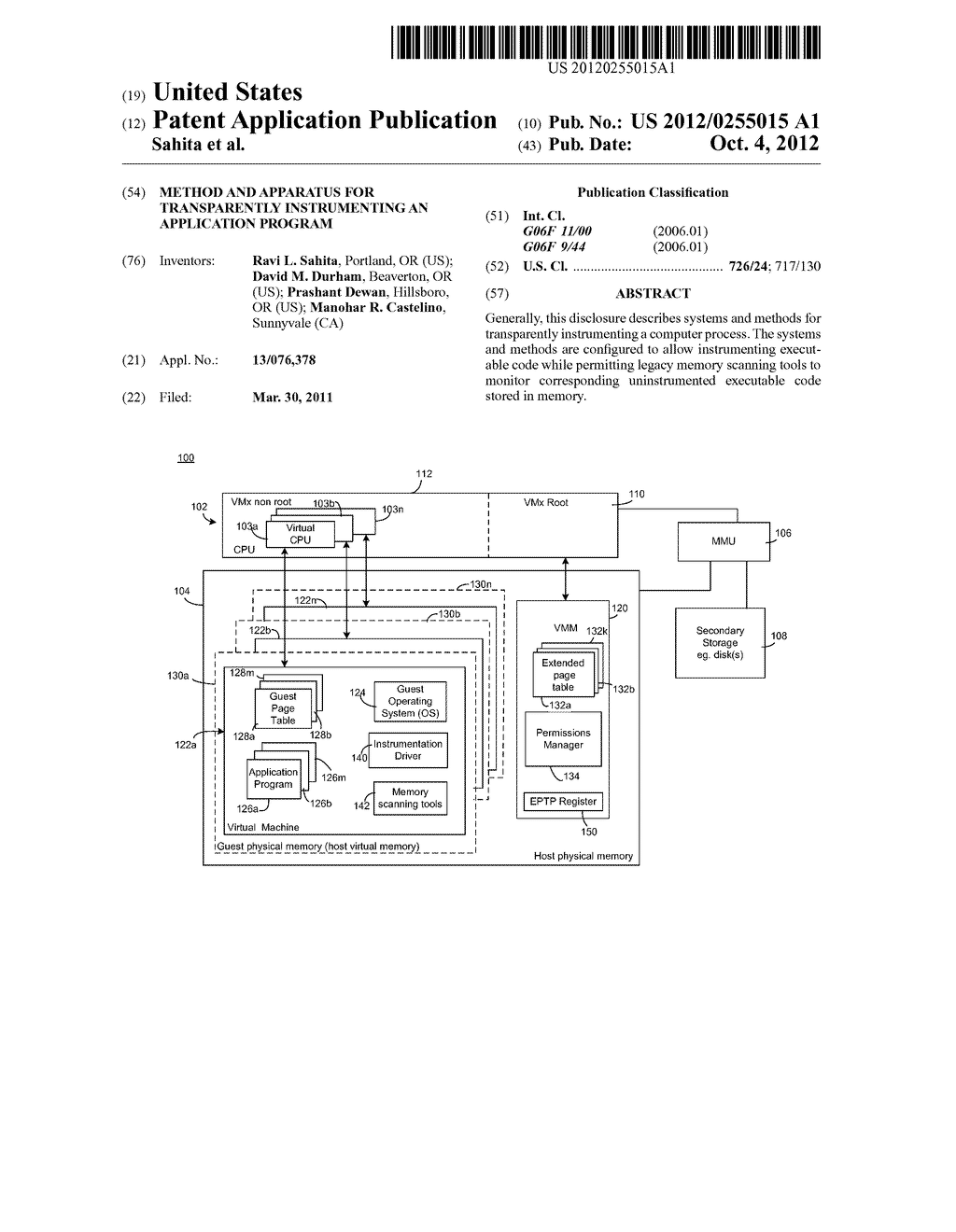METHOD AND APPARATUS FOR TRANSPARENTLY INSTRUMENTING AN APPLICATION     PROGRAM - diagram, schematic, and image 01