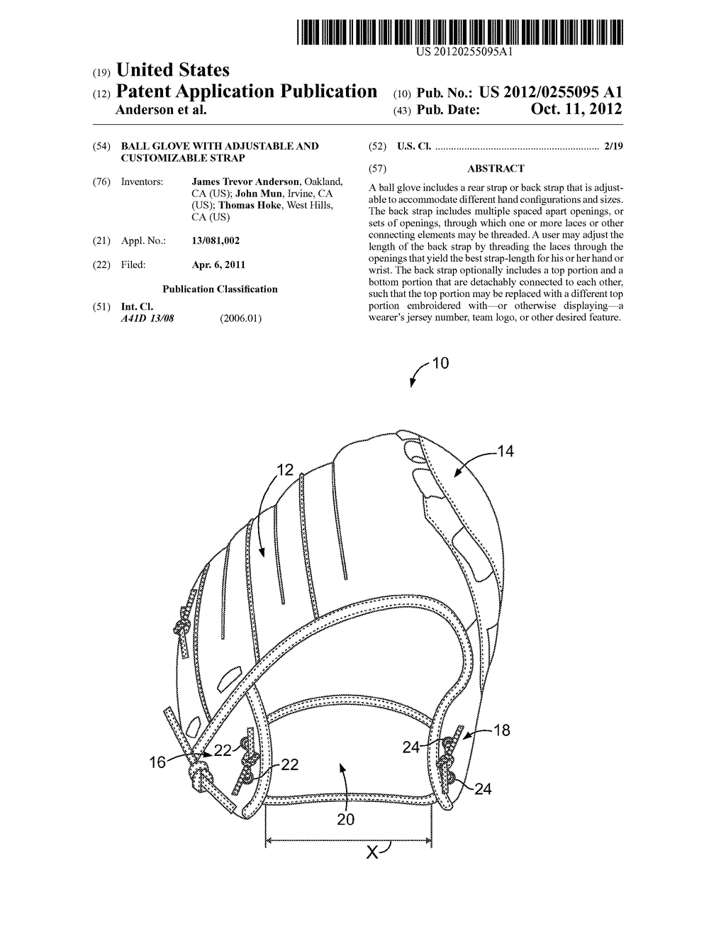 BALL GLOVE WITH ADJUSTABLE AND CUSTOMIZABLE STRAP - diagram, schematic, and image 01