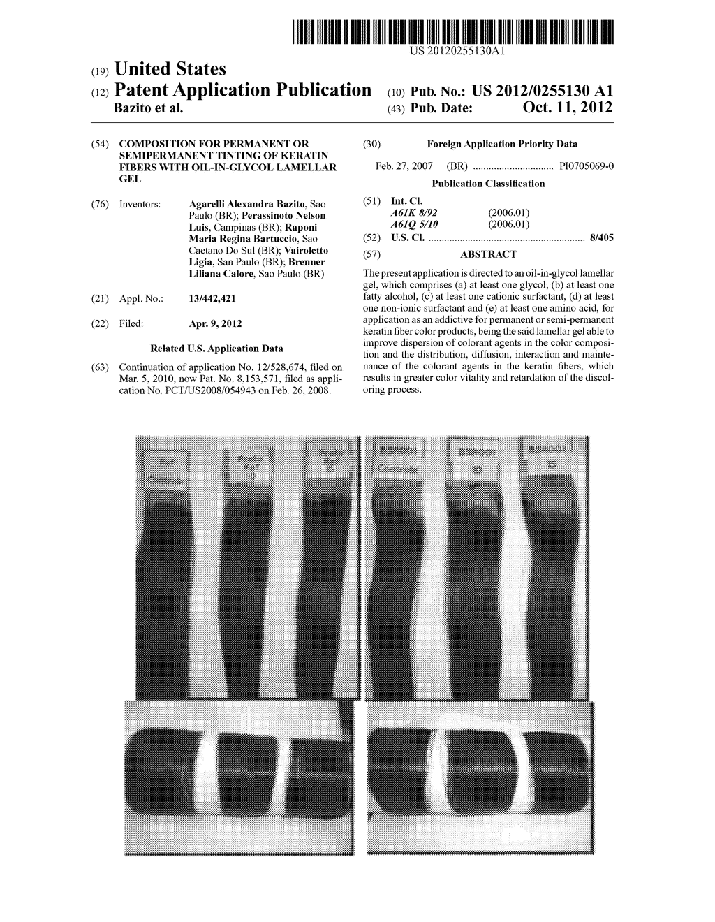 COMPOSITION FOR PERMANENT OR SEMIPERMANENT TINTING OF KERATIN FIBERS WITH     OIL-IN-GLYCOL LAMELLAR GEL - diagram, schematic, and image 01