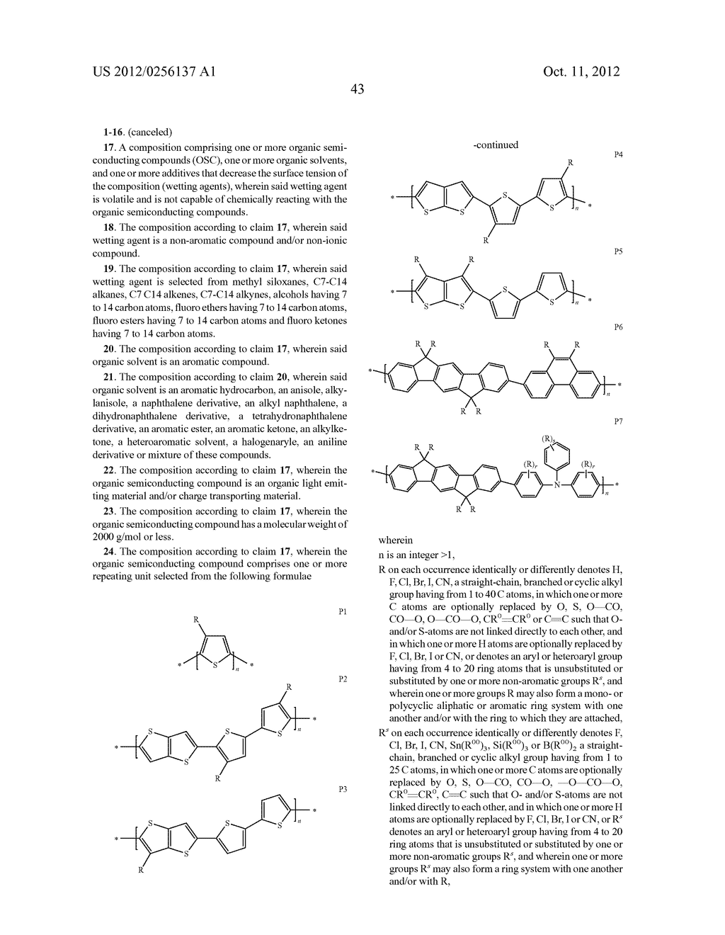 COMPOSITIONS COMPRISING ORGANIC SEMICONDUCTING COMPOUNDS - diagram, schematic, and image 54