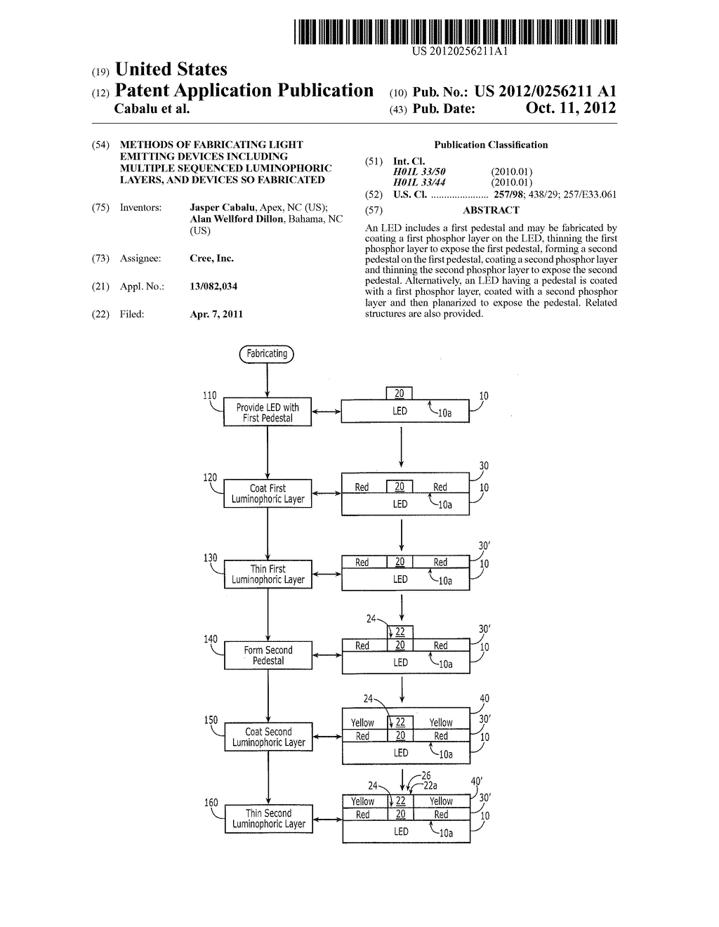 METHODS OF FABRICATING LIGHT EMITTING DEVICES INCLUDING MULTIPLE SEQUENCED     LUMINOPHORIC LAYERS, AND DEVICES SO FABRICATED - diagram, schematic, and image 01