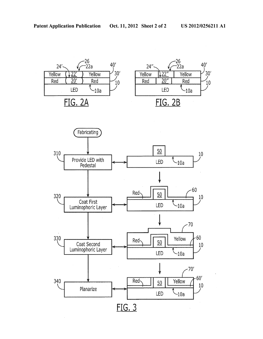 METHODS OF FABRICATING LIGHT EMITTING DEVICES INCLUDING MULTIPLE SEQUENCED     LUMINOPHORIC LAYERS, AND DEVICES SO FABRICATED - diagram, schematic, and image 03