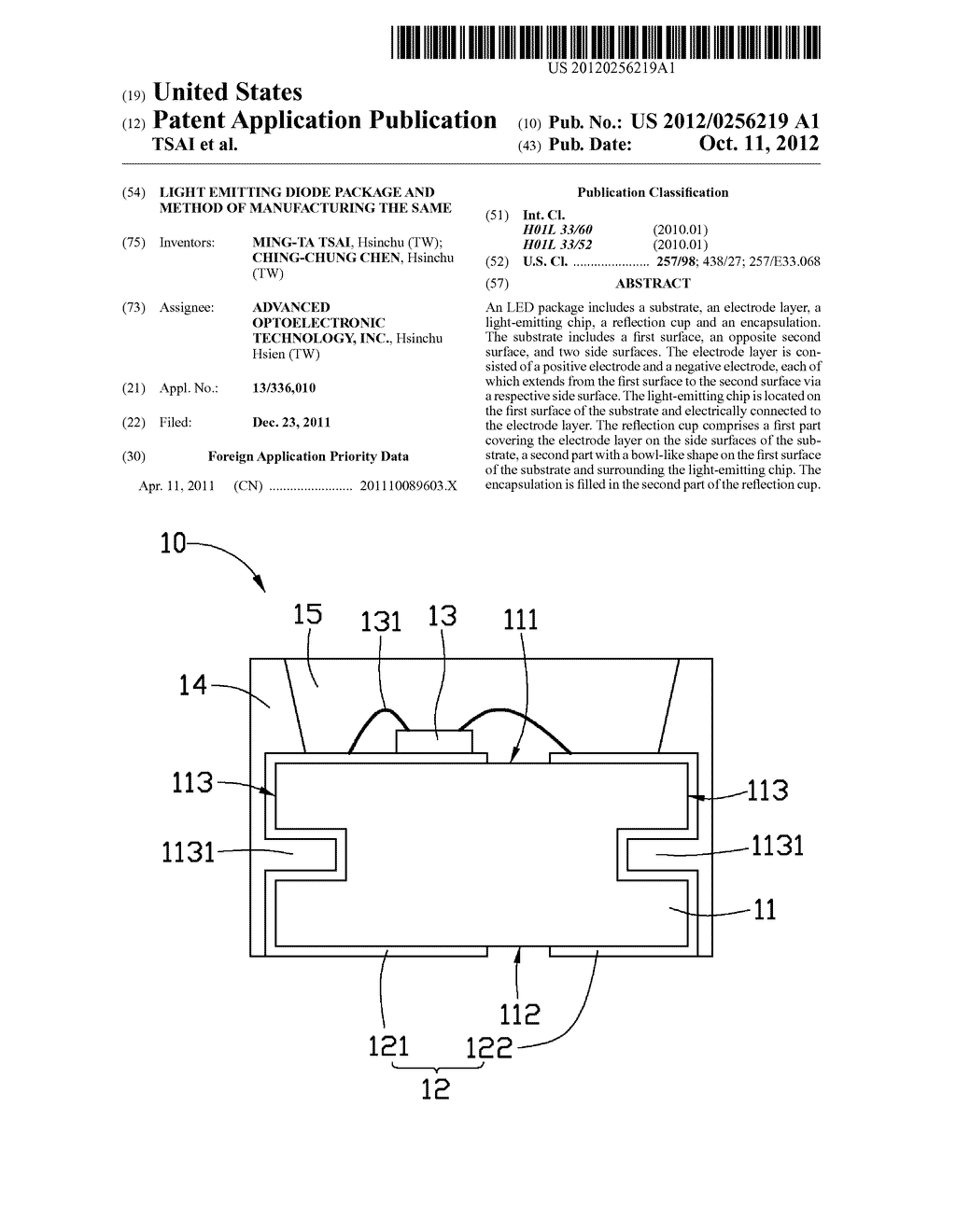 LIGHT EMITTING DIODE PACKAGE AND METHOD OF MANUFACTURING THE SAME - diagram, schematic, and image 01