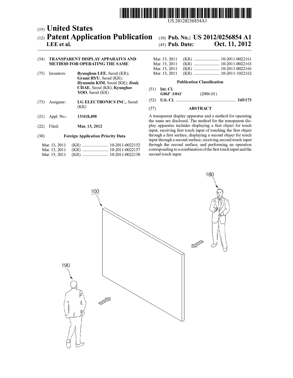 TRANSPARENT DISPLAY APPARATUS AND METHOD FOR OPERATING THE SAME - diagram, schematic, and image 01