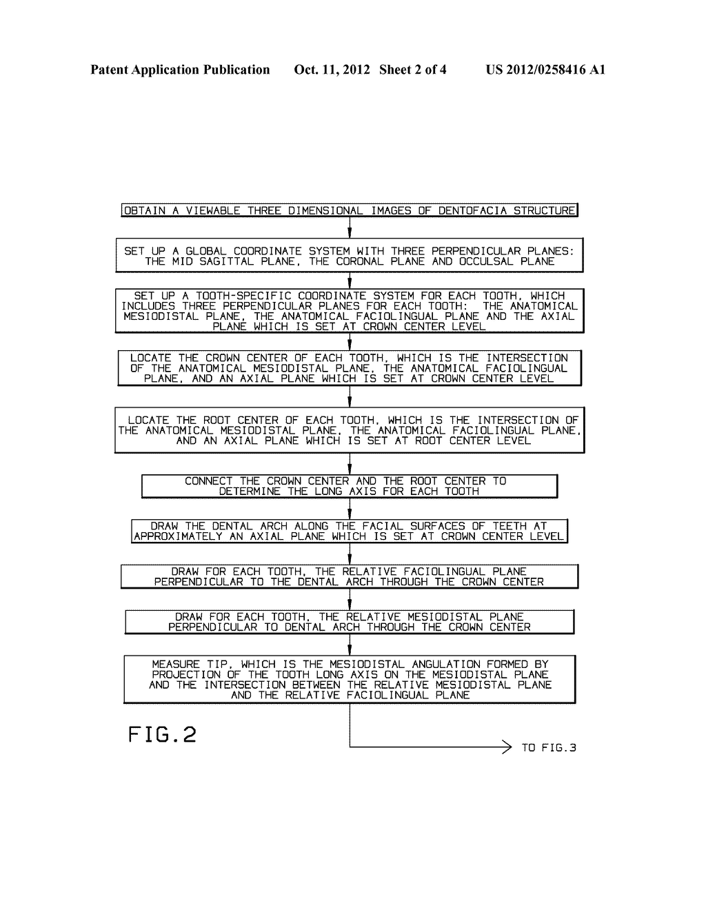 METHOD TO DEFINE, MEASURE, AND DISPLAY MESIODISTAL ANGULATION AND     FACIOLINGUAL INCLINATION OF EACH WHOLE TOOTH - diagram, schematic, and image 03