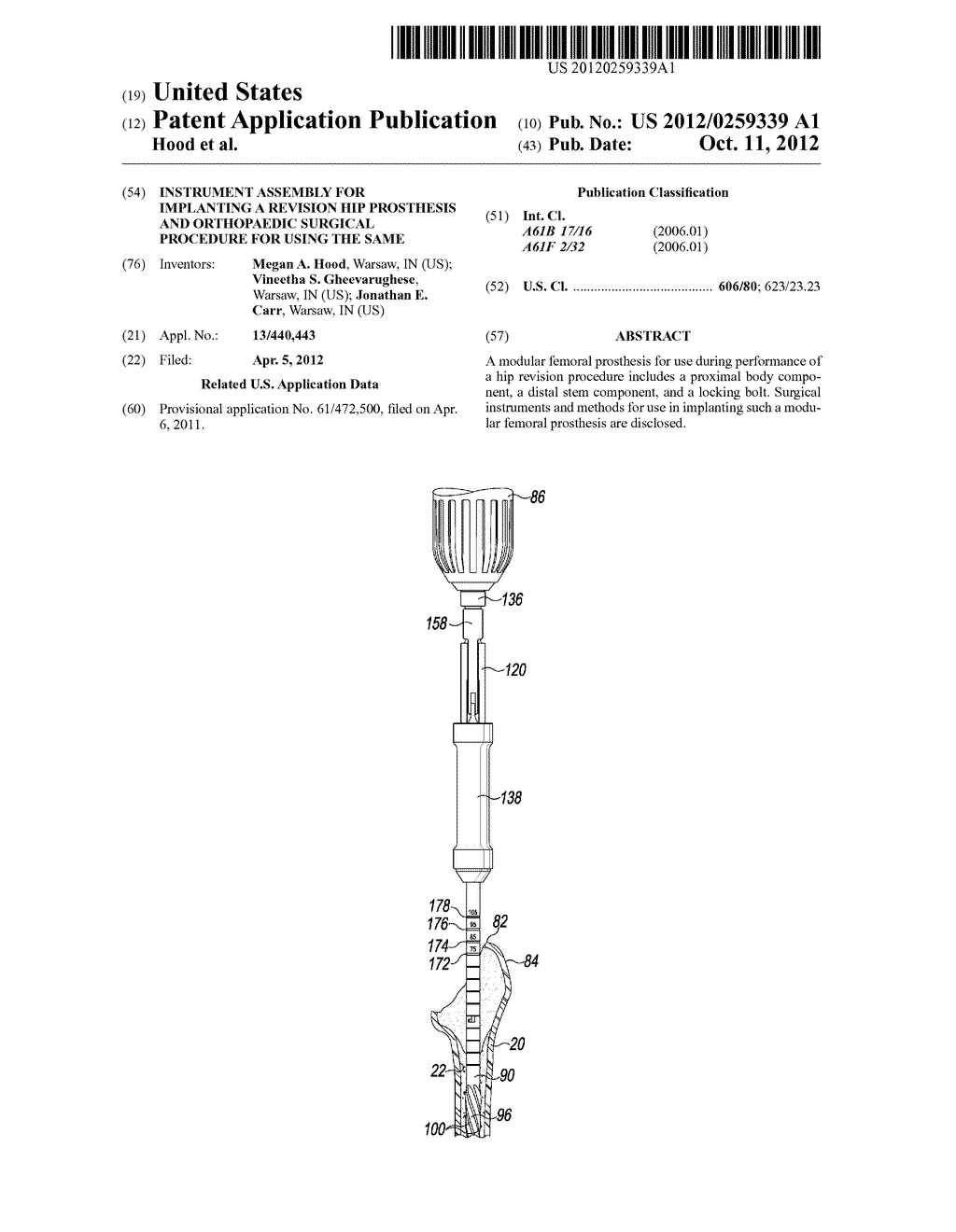 INSTRUMENT ASSEMBLY FOR IMPLANTING A REVISION HIP PROSTHESIS AND     ORTHOPAEDIC SURGICAL PROCEDURE FOR USING THE SAME - diagram, schematic, and image 01