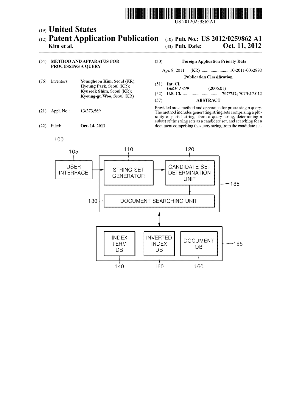 Method and apparatus for processing A query - diagram, schematic, and image 01