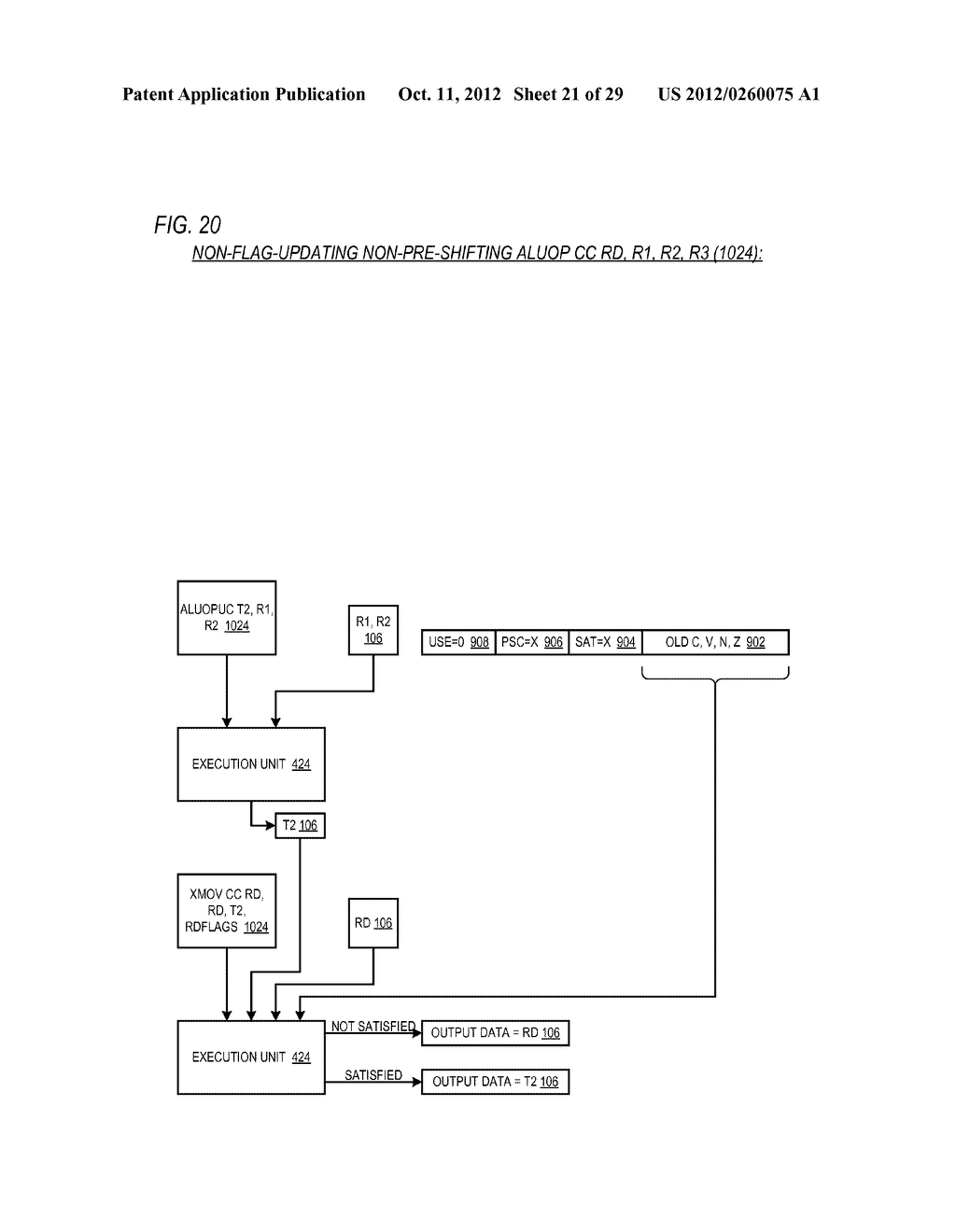 CONDITIONAL ALU INSTRUCTION PRE-SHIFT-GENERATED CARRY FLAG PROPAGATION     BETWEEN MICROINSTRUCTIONS IN READ-PORT LIMITED REGISTER FILE     MICROPROCESSOR - diagram, schematic, and image 22
