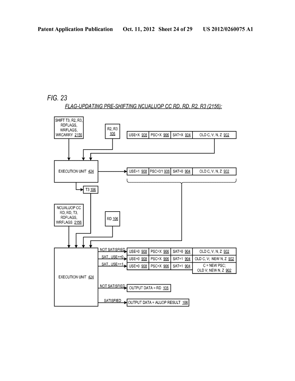 CONDITIONAL ALU INSTRUCTION PRE-SHIFT-GENERATED CARRY FLAG PROPAGATION     BETWEEN MICROINSTRUCTIONS IN READ-PORT LIMITED REGISTER FILE     MICROPROCESSOR - diagram, schematic, and image 25