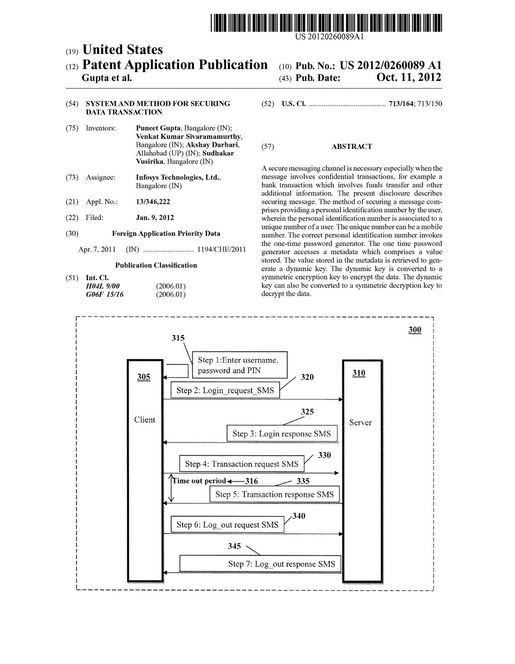 SYSTEM AND METHOD FOR SECURING DATA TRANSACTION - diagram, schematic, and image 01