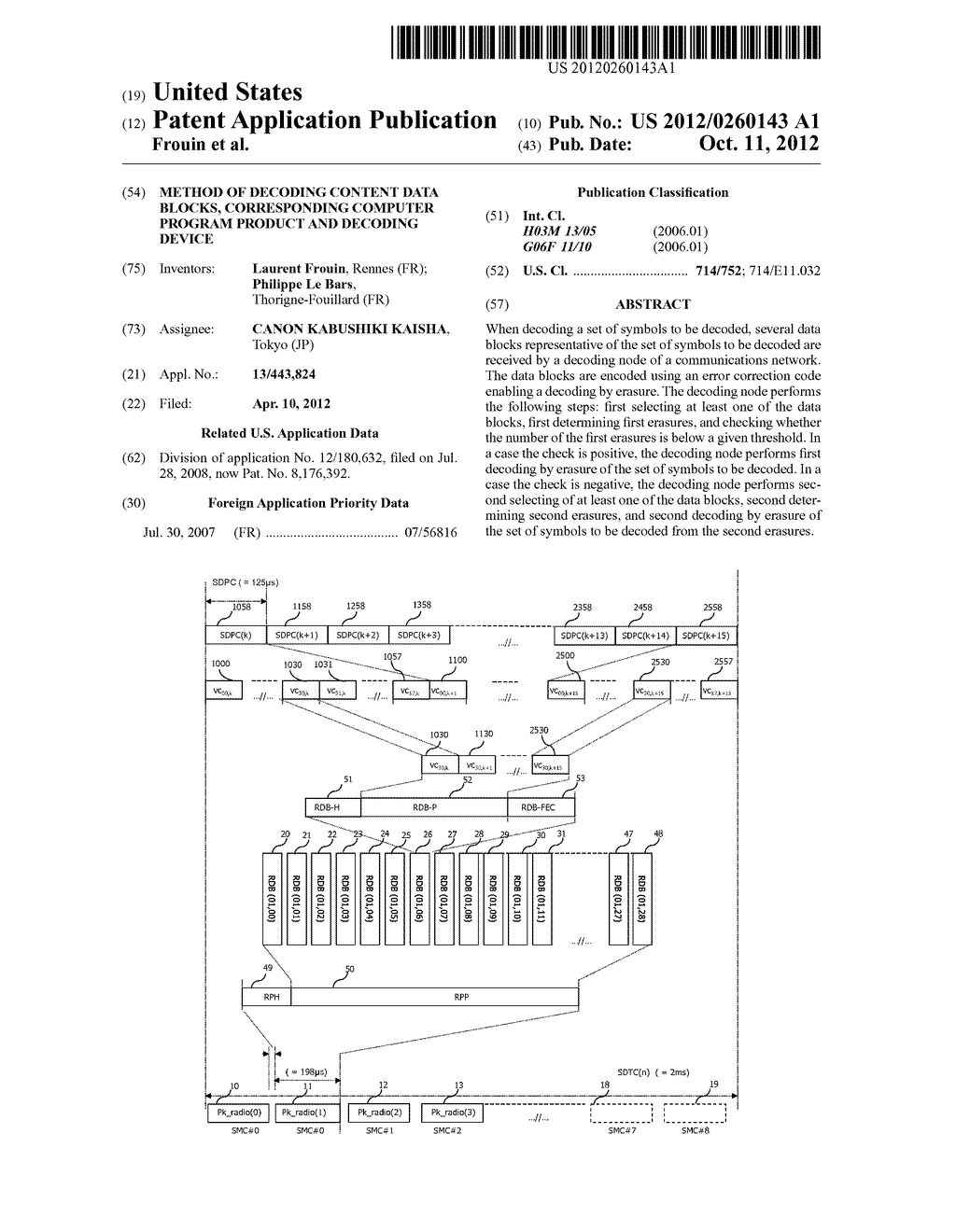 METHOD OF DECODING CONTENT DATA BLOCKS, CORRESPONDING COMPUTER PROGRAM     PRODUCT AND DECODING DEVICE - diagram, schematic, and image 01