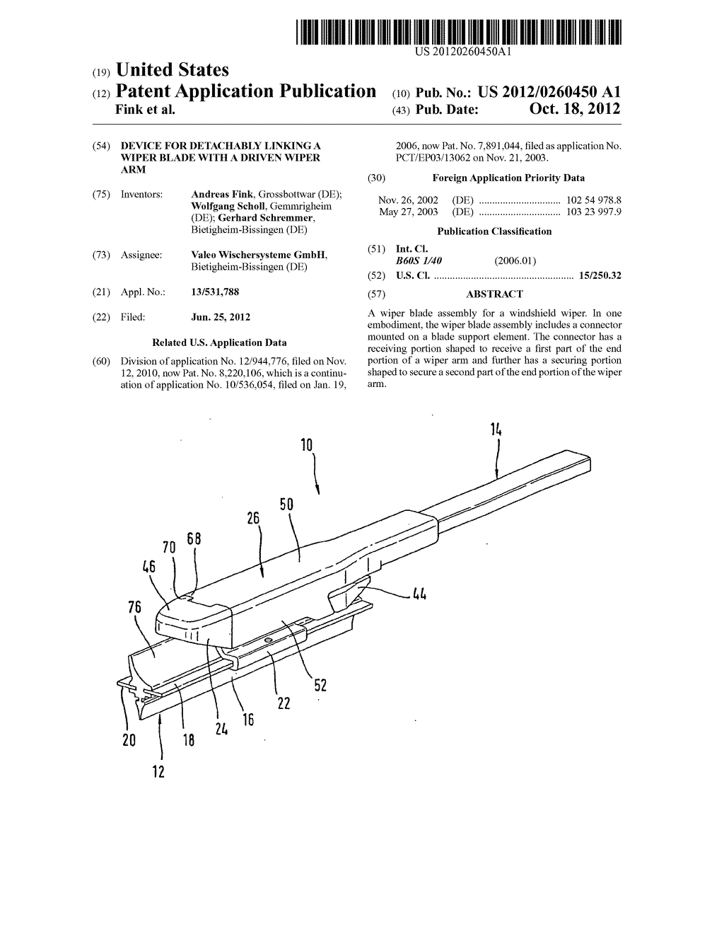 DEVICE FOR DETACHABLY LINKING A WIPER BLADE WITH A DRIVEN WIPER ARM - diagram, schematic, and image 01