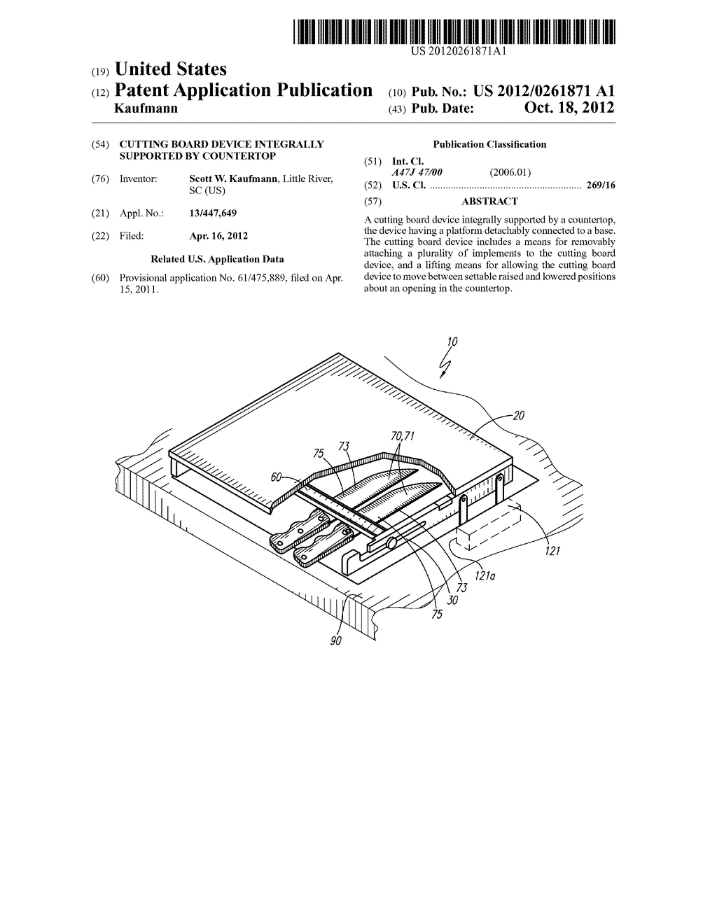 Cutting Board Device Integrally Supported By Countertop - diagram, schematic, and image 01