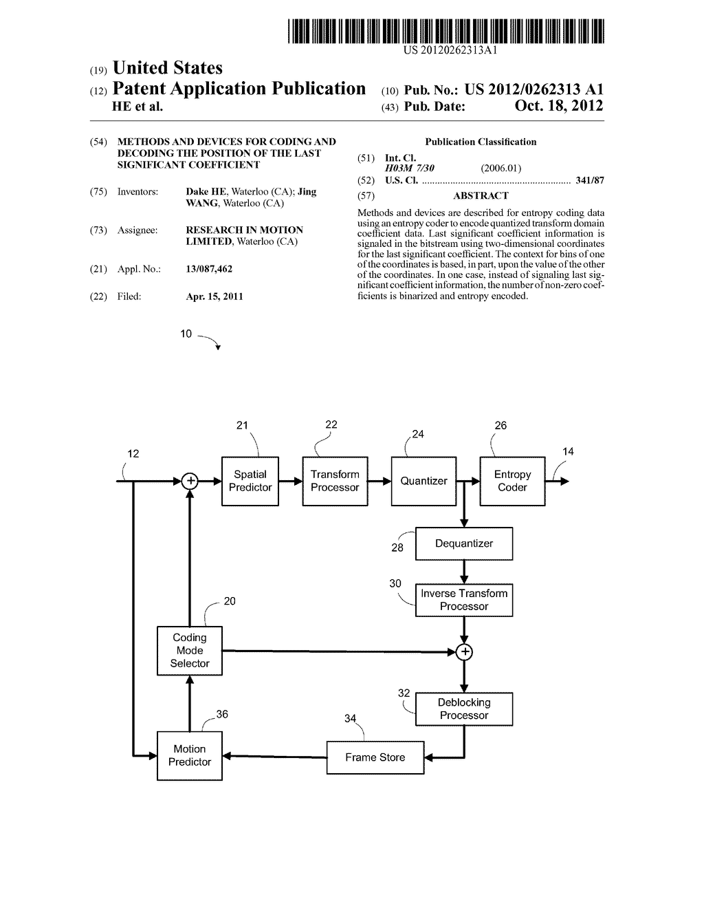 METHODS AND DEVICES FOR CODING AND DECODING THE POSITION OF THE LAST     SIGNIFICANT COEFFICIENT - diagram, schematic, and image 01