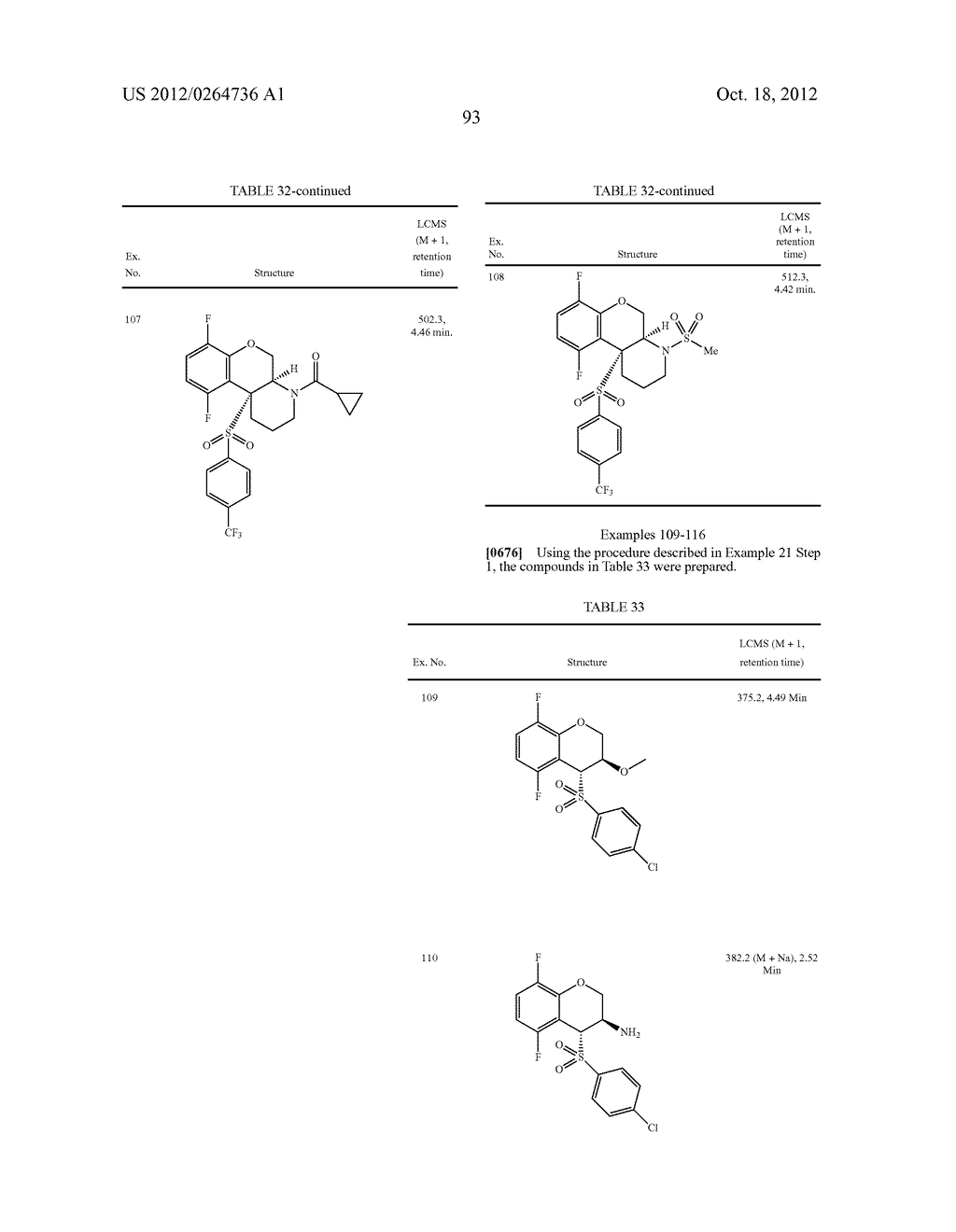 BENZENESULFONYL-CHROMANE, THIOCHROMANE, TETRAHYDRONAPHTHALENE AND RELATED     GAMMA SECRETASE INHIBITORS - diagram, schematic, and image 94