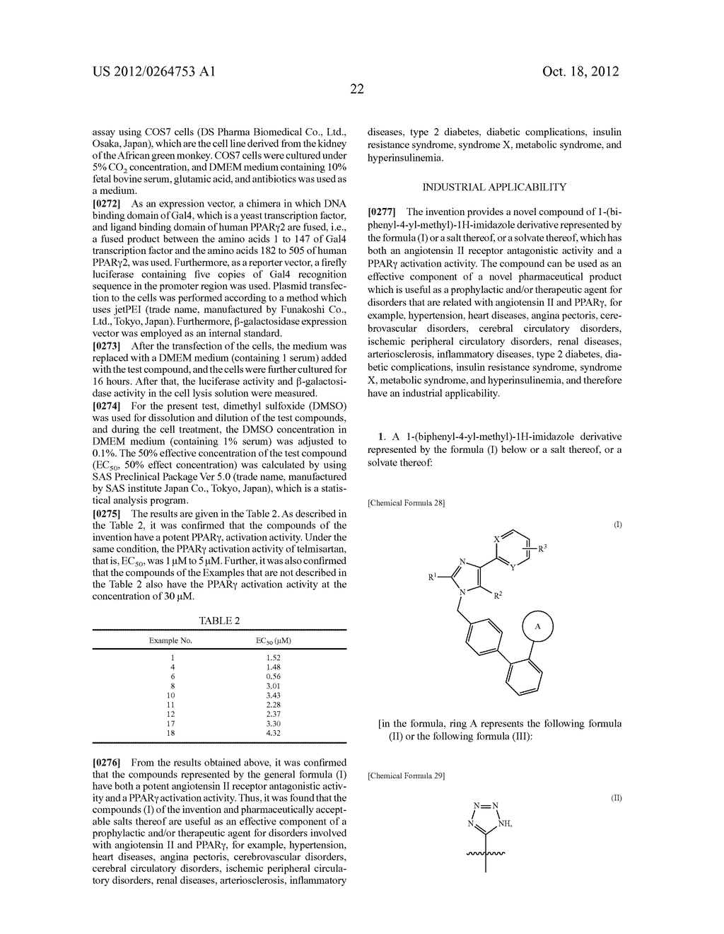 NOVEL 1-(BIPHENYL-4-YL-METHYL)-1H-IMIDAZOLE DERIVATIVE AND PHARMACEUTICAL     PRODUCT CONTAINING SAME - diagram, schematic, and image 23