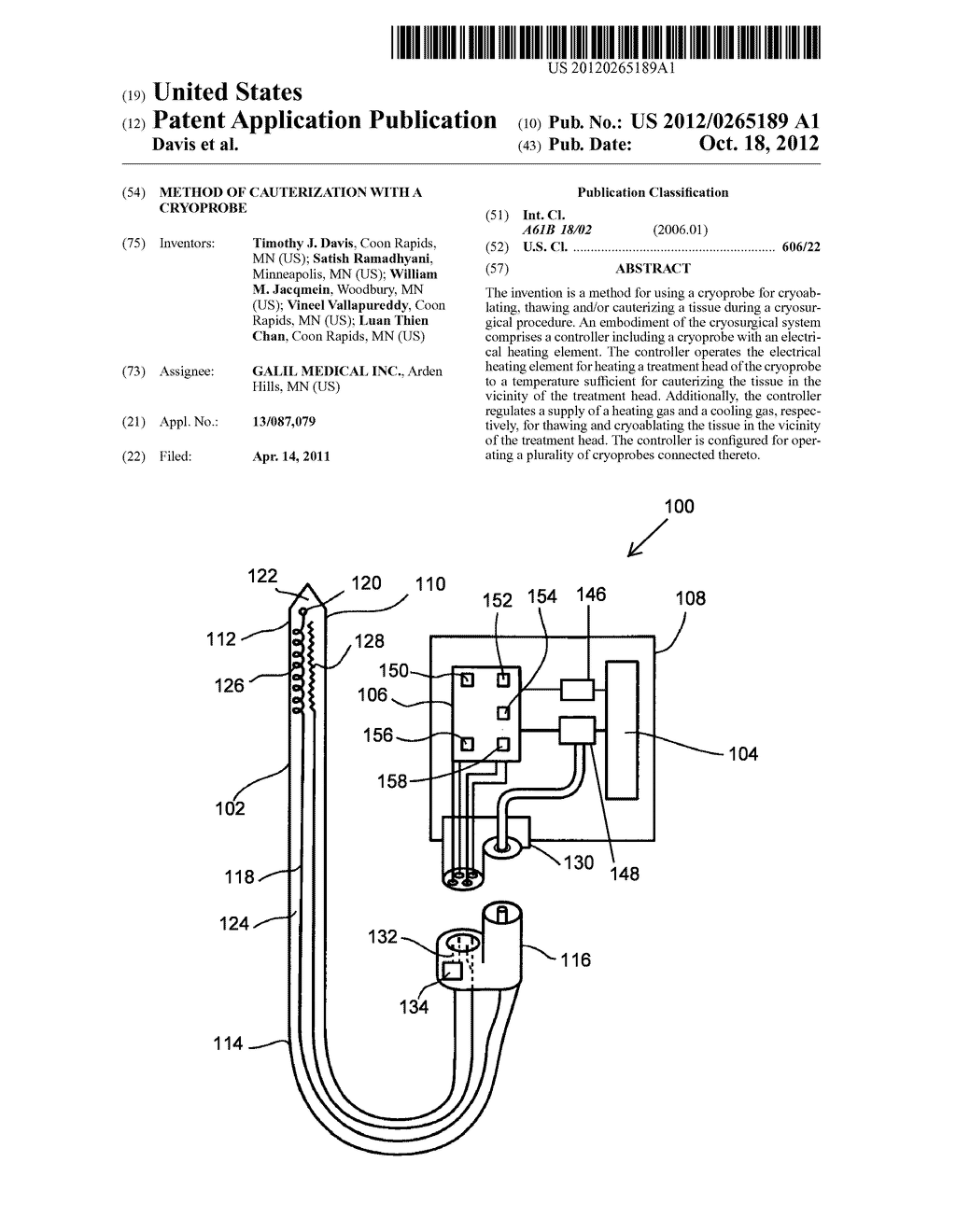 METHOD OF CAUTERIZATION WITH A CRYOPROBE - diagram, schematic, and image 01