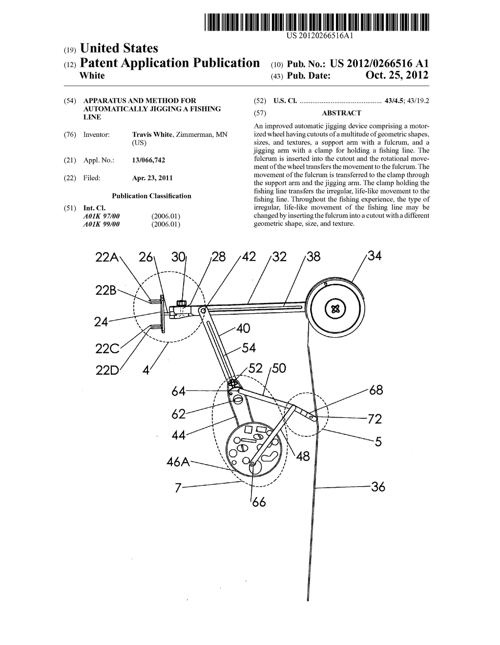 Apparatus and method for automatically jigging a fishing line - diagram, schematic, and image 01