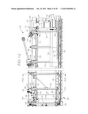 COMBINE HARVESTER DRAPER HEADER WITH FLOOR PAN REARWARD OF CENTRAL DRAPER diagram and image