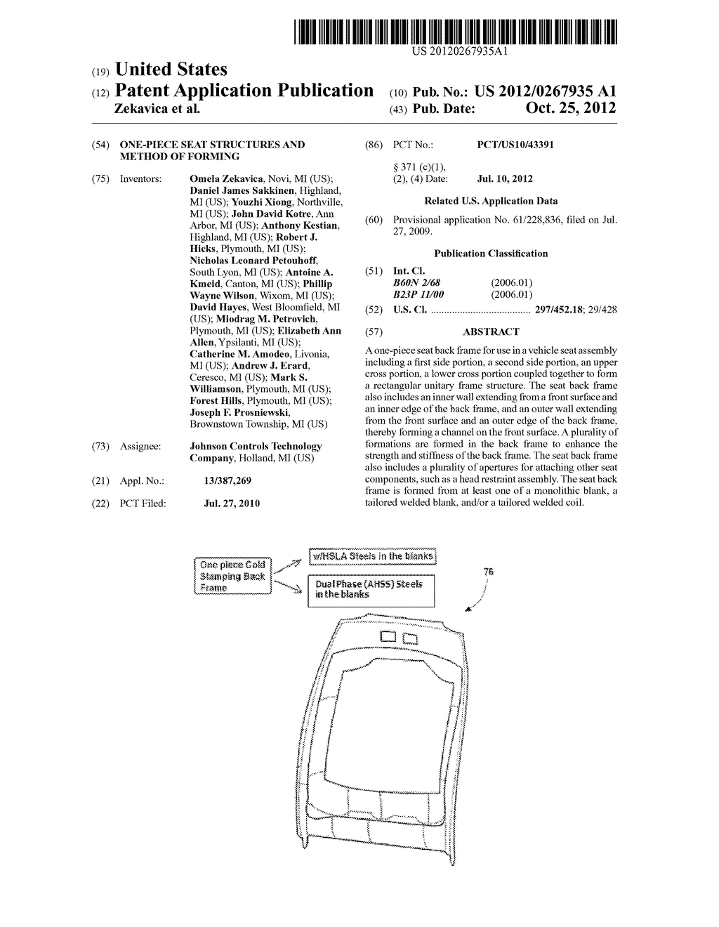 ONE-PIECE SEAT STRUCTURES AND METHOD OF FORMING - diagram, schematic, and image 01