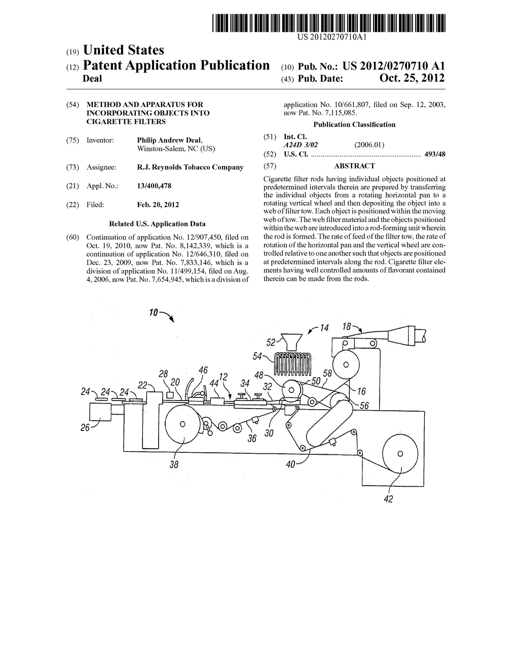 METHOD AND APPARATUS FOR INCORPORATING OBJECTS INTO CIGARETTE FILTERS - diagram, schematic, and image 01