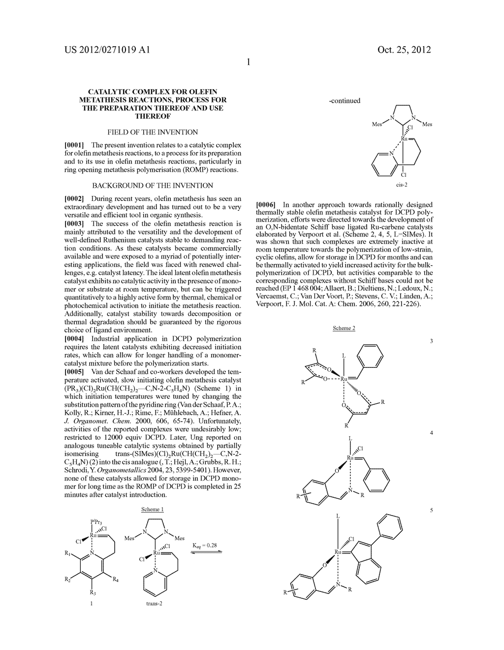 CATALYTIC COMPLEX FOR OLEFIN METATHESIS REACTIONS, PROCESS FOR THE     PREPARATION THEREOF AND USE THEREOF - diagram, schematic, and image 02