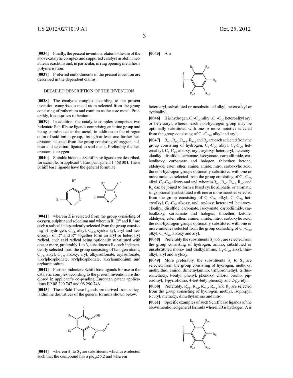 CATALYTIC COMPLEX FOR OLEFIN METATHESIS REACTIONS, PROCESS FOR THE     PREPARATION THEREOF AND USE THEREOF - diagram, schematic, and image 04