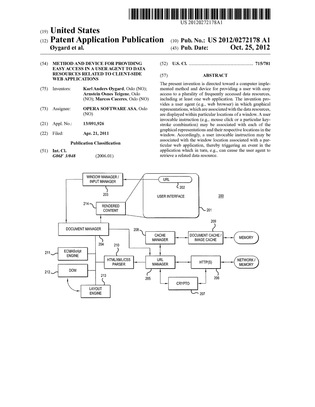 METHOD AND DEVICE FOR PROVIDING EASY ACCESS IN A USER AGENT TO DATA     RESOURCES RELATED TO CLIENT-SIDE WEB APPLICATIONS - diagram, schematic, and image 01