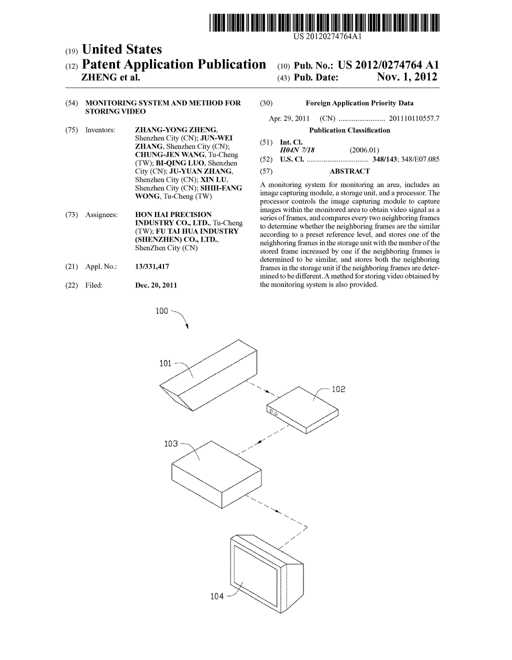 MONITORING SYSTEM AND METHOD FOR STORING VIDEO - diagram, schematic, and image 01