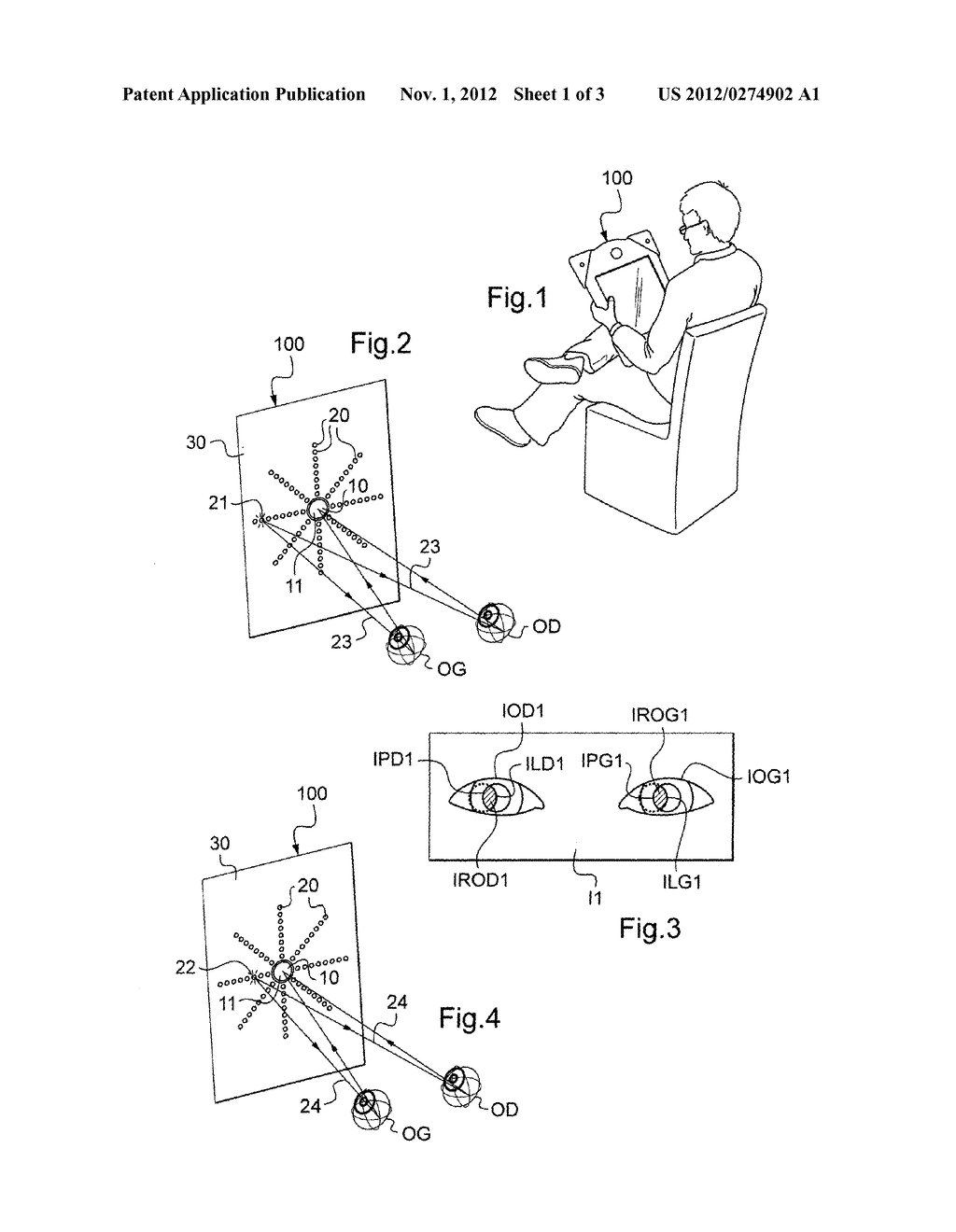 METHOD AND A DEVICE FOR AUTOMATICALLY MEASURING AT LEAST ONE REFRACTIVE     CHARACTERISTIC OF BOTH EYES OF AN INDIVIDUAL - diagram, schematic, and image 02