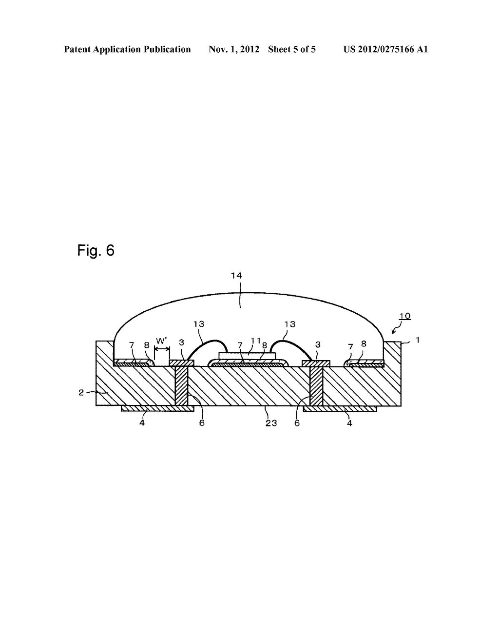 SUBSTRATE FOR MOUNTING LIGHT-EMITTING ELEMENT, ITS PRODUCTION PROCESS AND     LIGHT-EMITTING DEVICE - diagram, schematic, and image 06