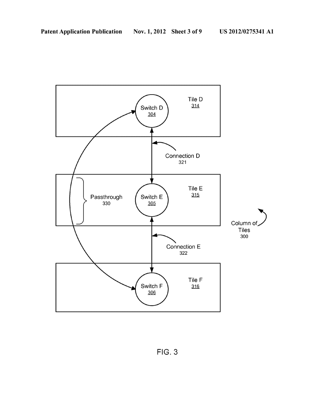 SYSTEM AND METHOD FOR IMPLEMENTING A MULTISTAGE NETWORK USING A     TWO-DIMENSIONAL ARRAY OF TILES - diagram, schematic, and image 04