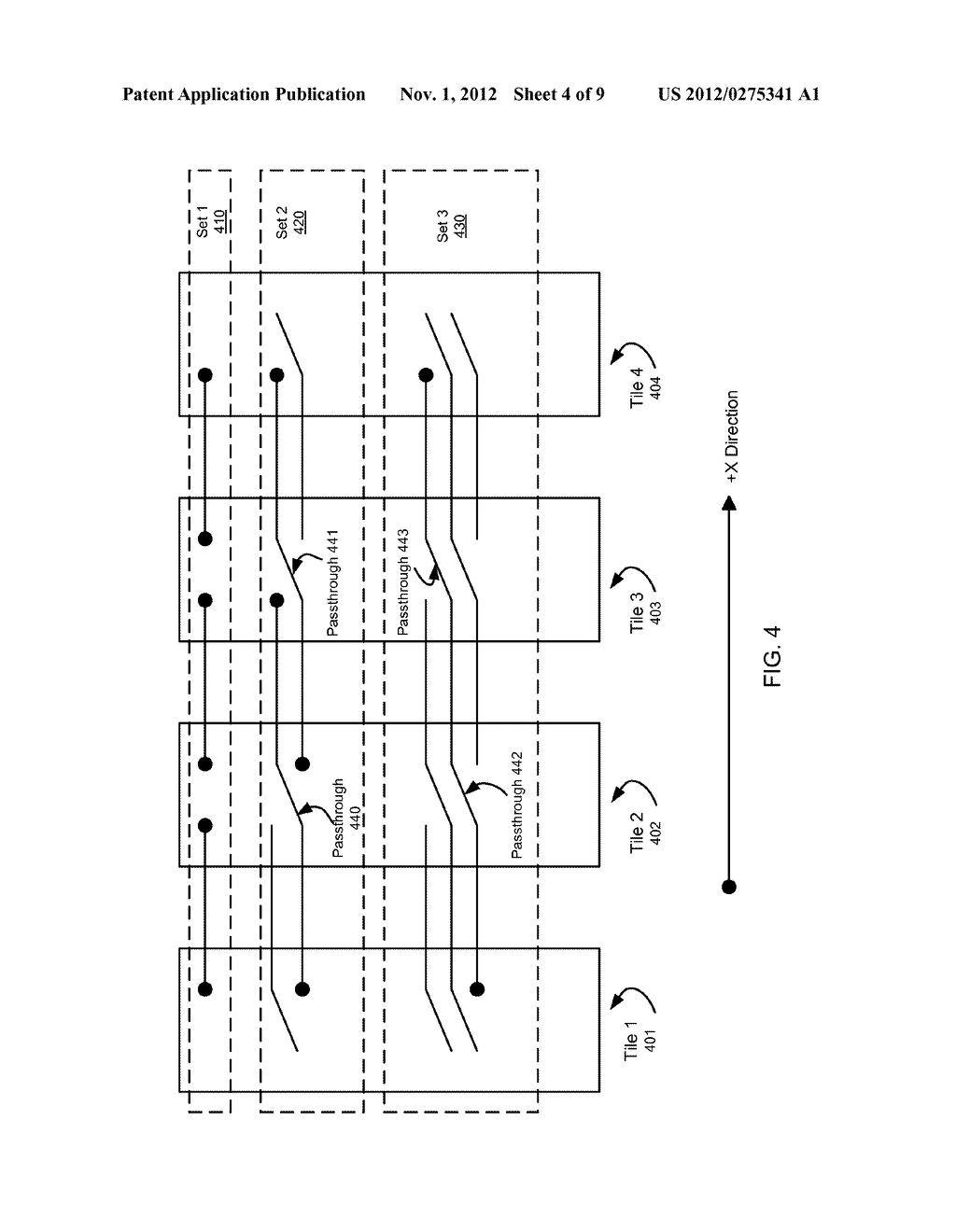 SYSTEM AND METHOD FOR IMPLEMENTING A MULTISTAGE NETWORK USING A     TWO-DIMENSIONAL ARRAY OF TILES - diagram, schematic, and image 05
