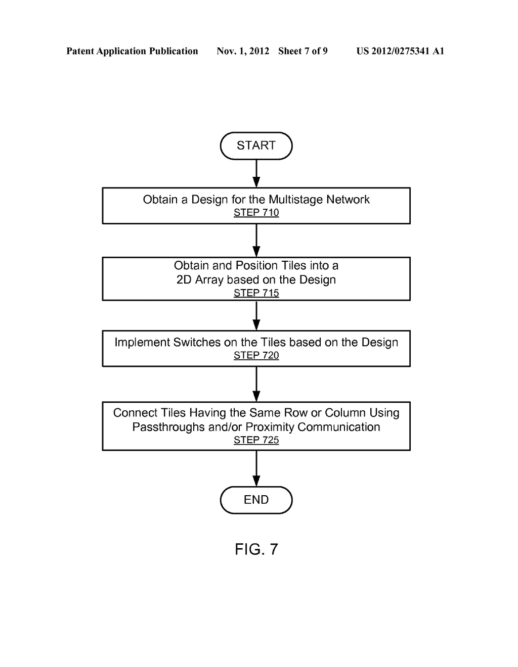SYSTEM AND METHOD FOR IMPLEMENTING A MULTISTAGE NETWORK USING A     TWO-DIMENSIONAL ARRAY OF TILES - diagram, schematic, and image 08