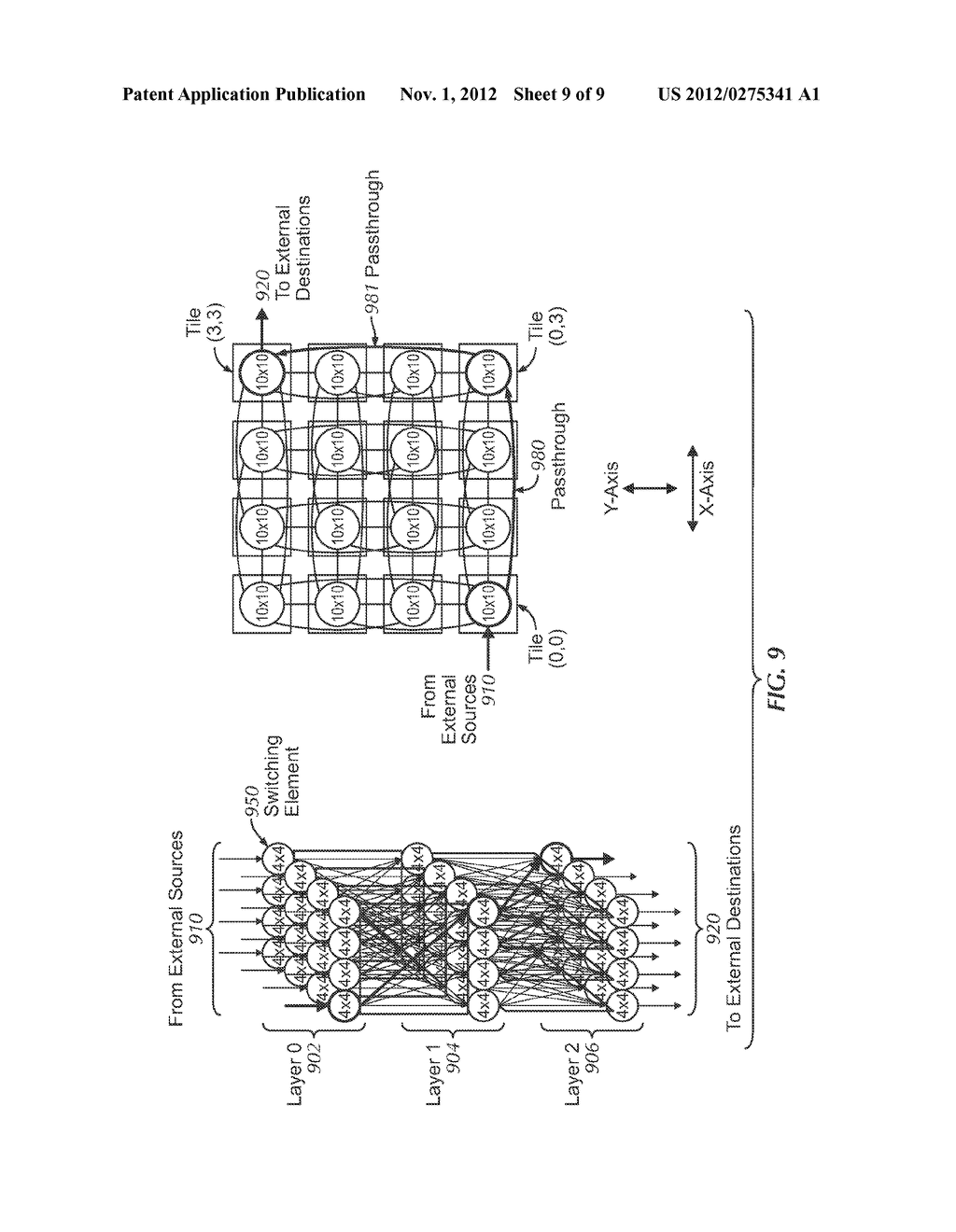 SYSTEM AND METHOD FOR IMPLEMENTING A MULTISTAGE NETWORK USING A     TWO-DIMENSIONAL ARRAY OF TILES - diagram, schematic, and image 10