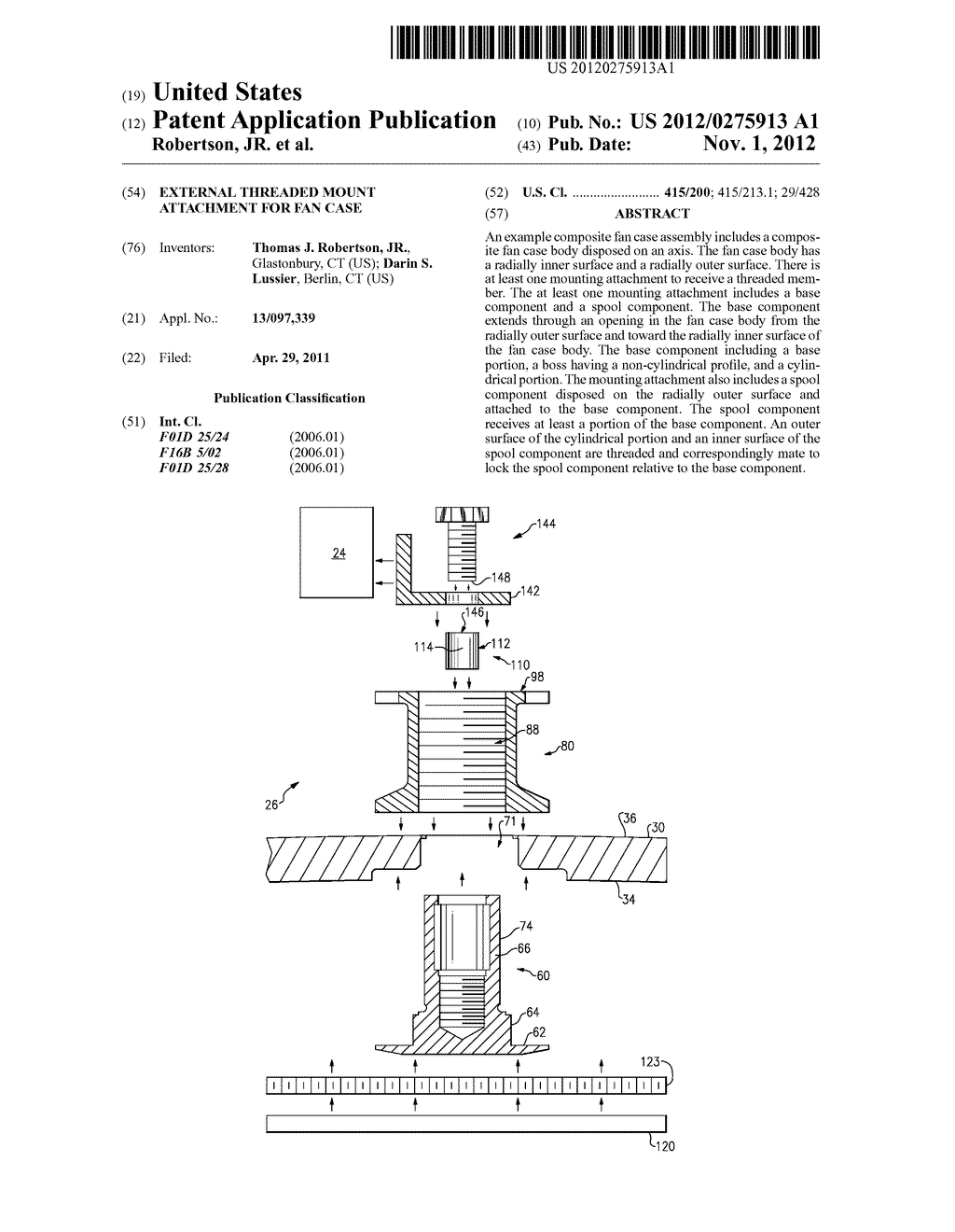 EXTERNAL THREADED MOUNT ATTACHMENT FOR FAN CASE - diagram, schematic, and image 01