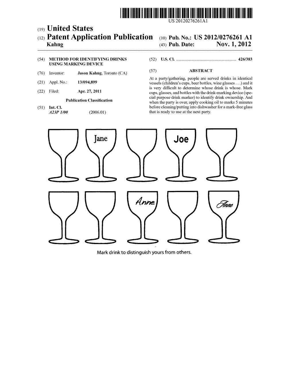 Method for identifying drinks using marking device - diagram, schematic, and image 01