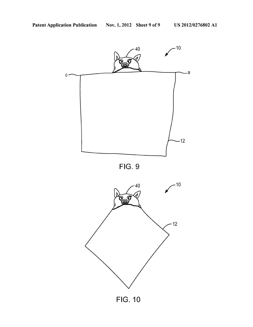 HOODED BLANKET AND STUFFED TOY COMBINATION - diagram, schematic, and image 10