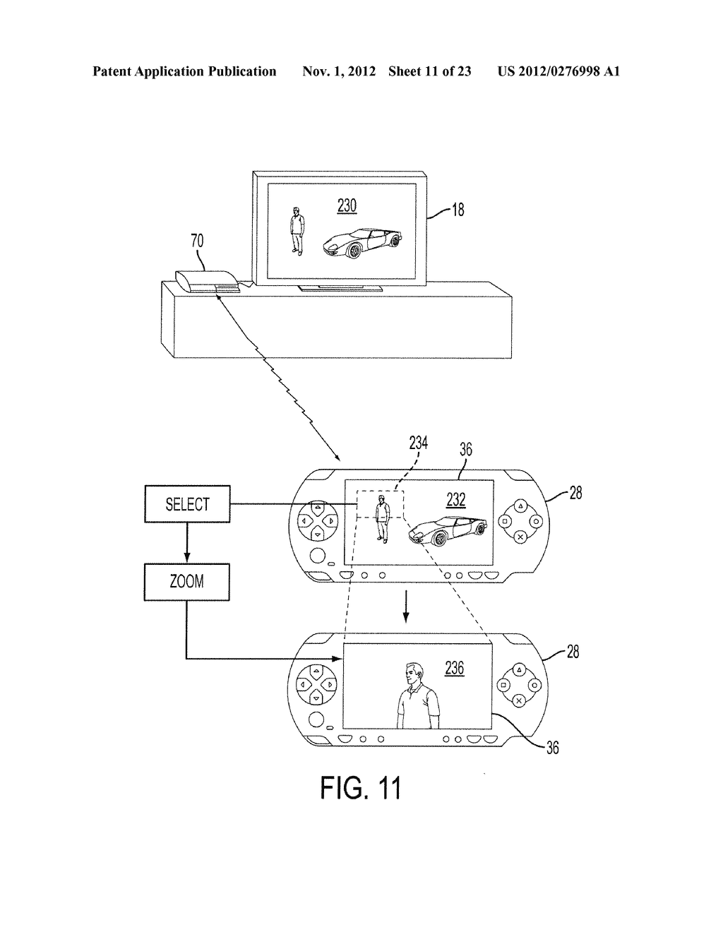 Methods and Systems for Playing Video Games with a Controller Having a     Display that Shares Content with a Main Display - diagram, schematic, and image 12