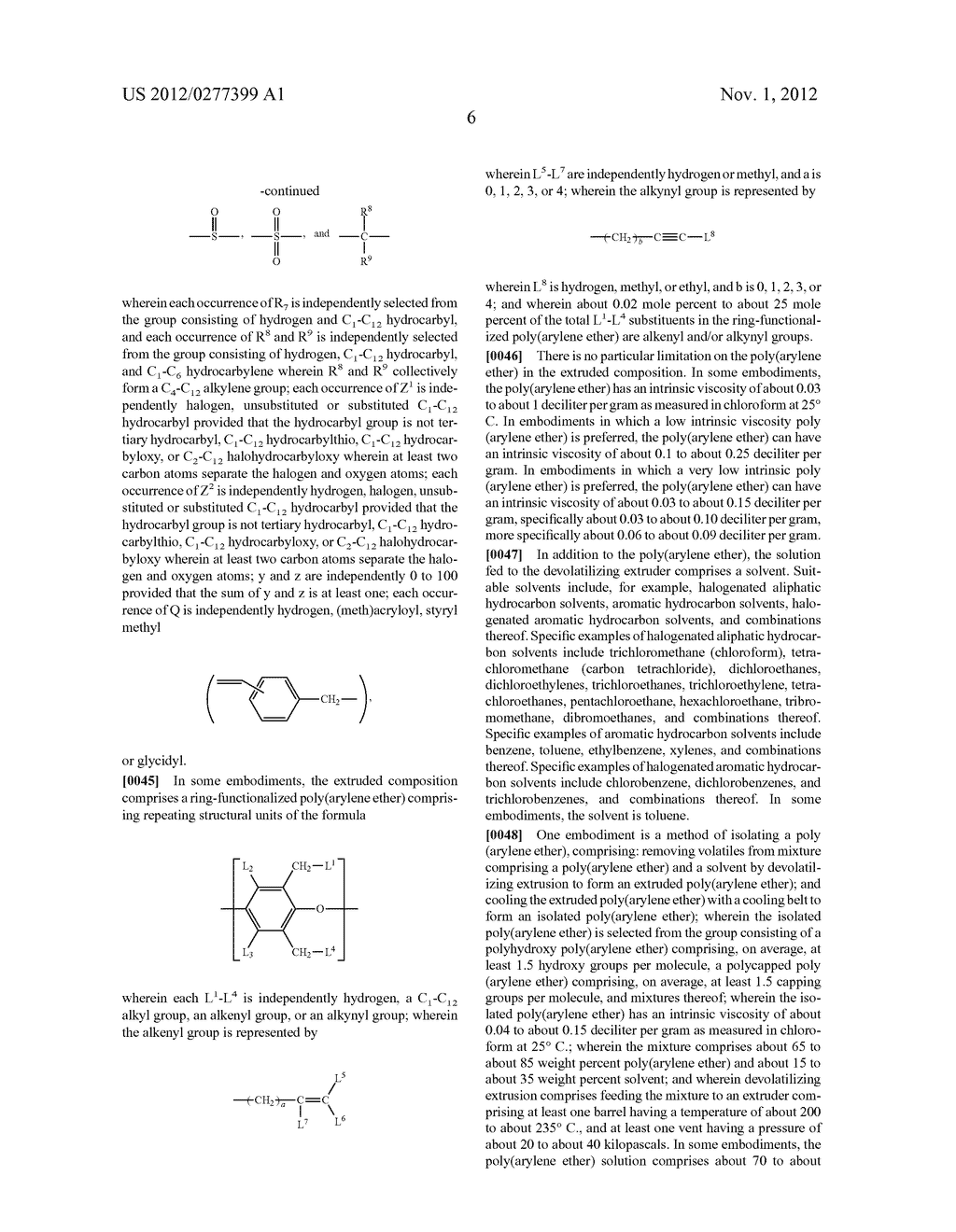 METHOD OF SEPARATING A POLY(ARYLENE ETHER) COMPOSITION FROM A SOLVENT, AND     POLY(ARYLENE ETHER) COMPOSITION PREPARED THEREBY - diagram, schematic, and image 12