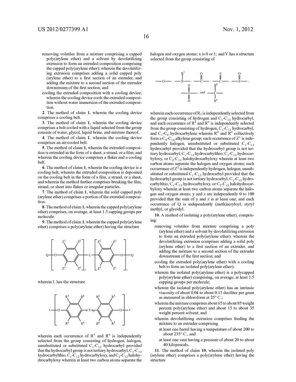 METHOD OF SEPARATING A POLY(ARYLENE ETHER) COMPOSITION FROM A SOLVENT, AND     POLY(ARYLENE ETHER) COMPOSITION PREPARED THEREBY - diagram, schematic, and image 22